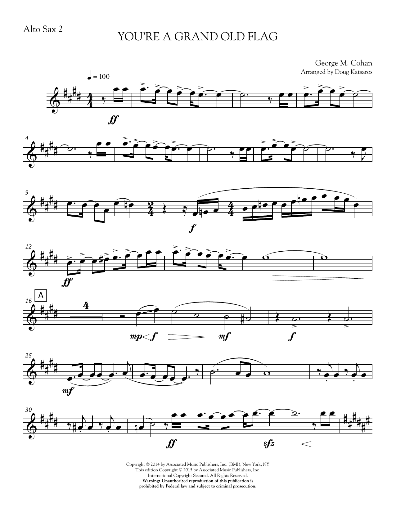 You're a Grand Old Flag - Part 2 - Eb Alto Sax Sheet Music