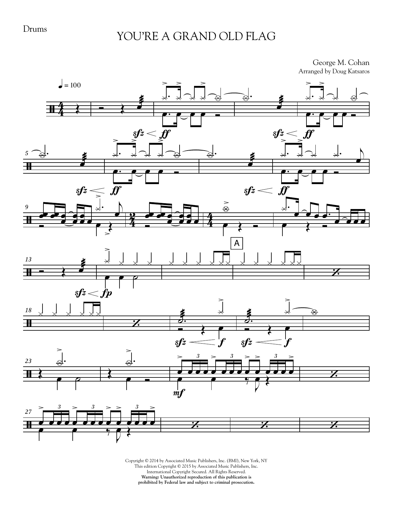 You're a Grand Old Flag - Drum Set Sheet Music