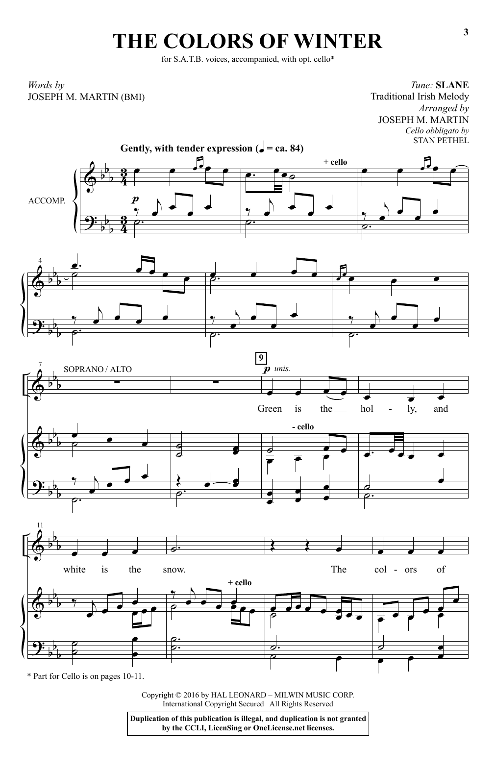 Partition chorale The Colors Of Winter de Joseph M. Martin - SATB