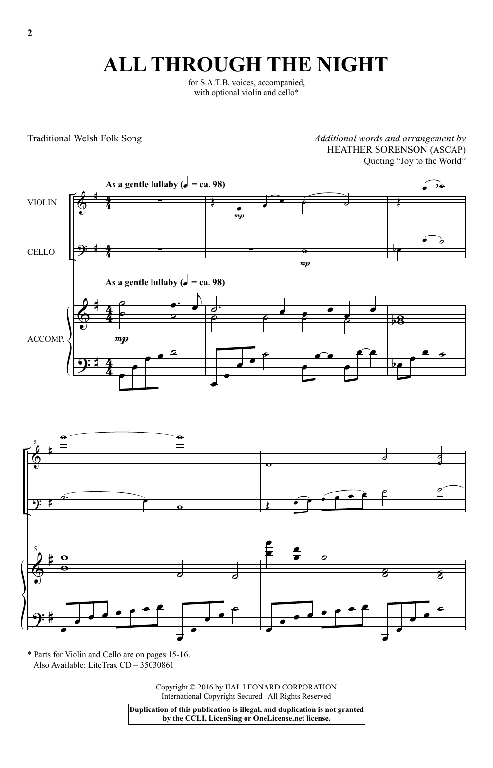 Partition chorale All Through The Night de Heather Sorenson - SATB
