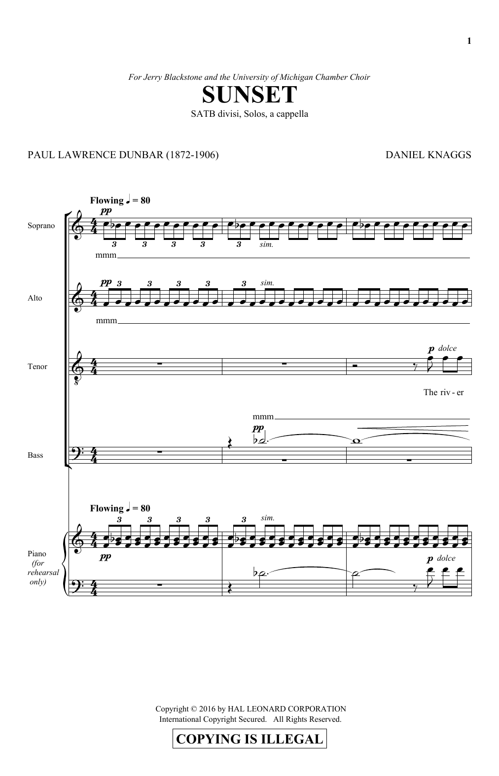 Partition chorale Sunset de  - SATB