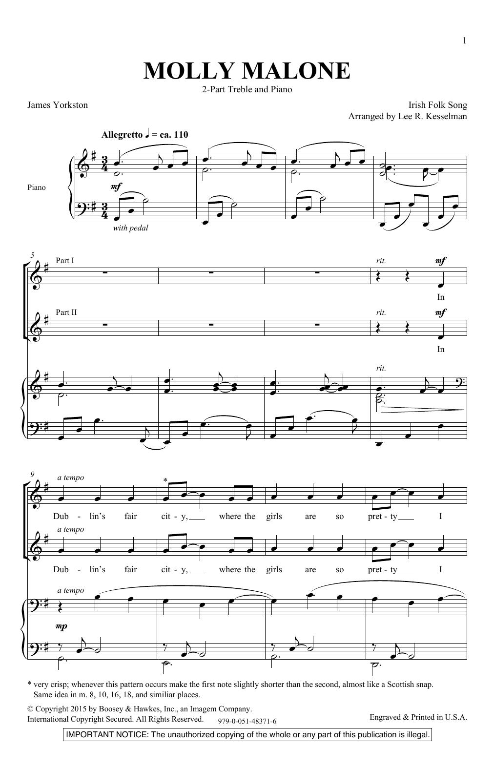 Molly Malone (2-Part Choir)