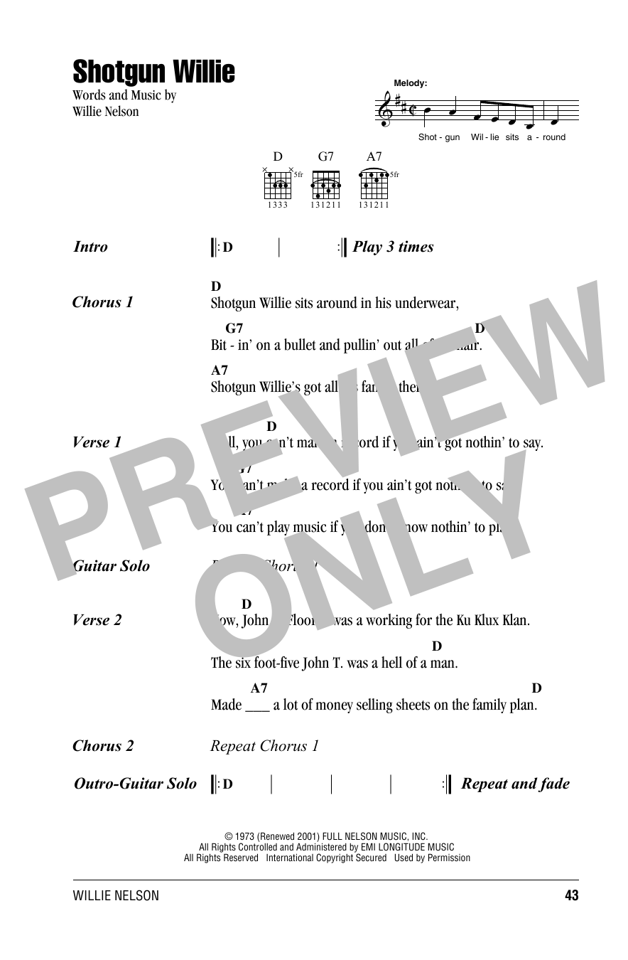 Shotgun Willie Sheet Music