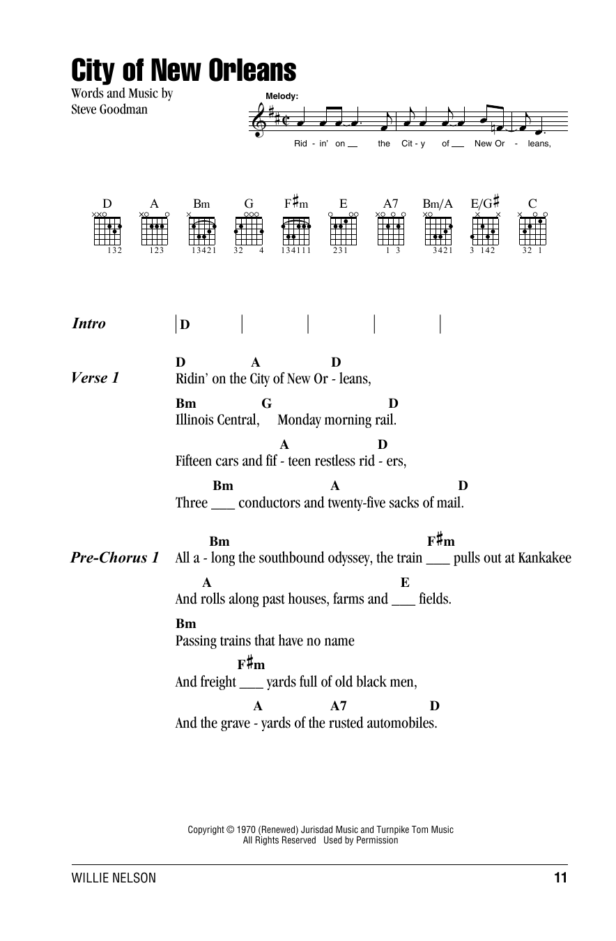City Of New Orleans Sheet Music