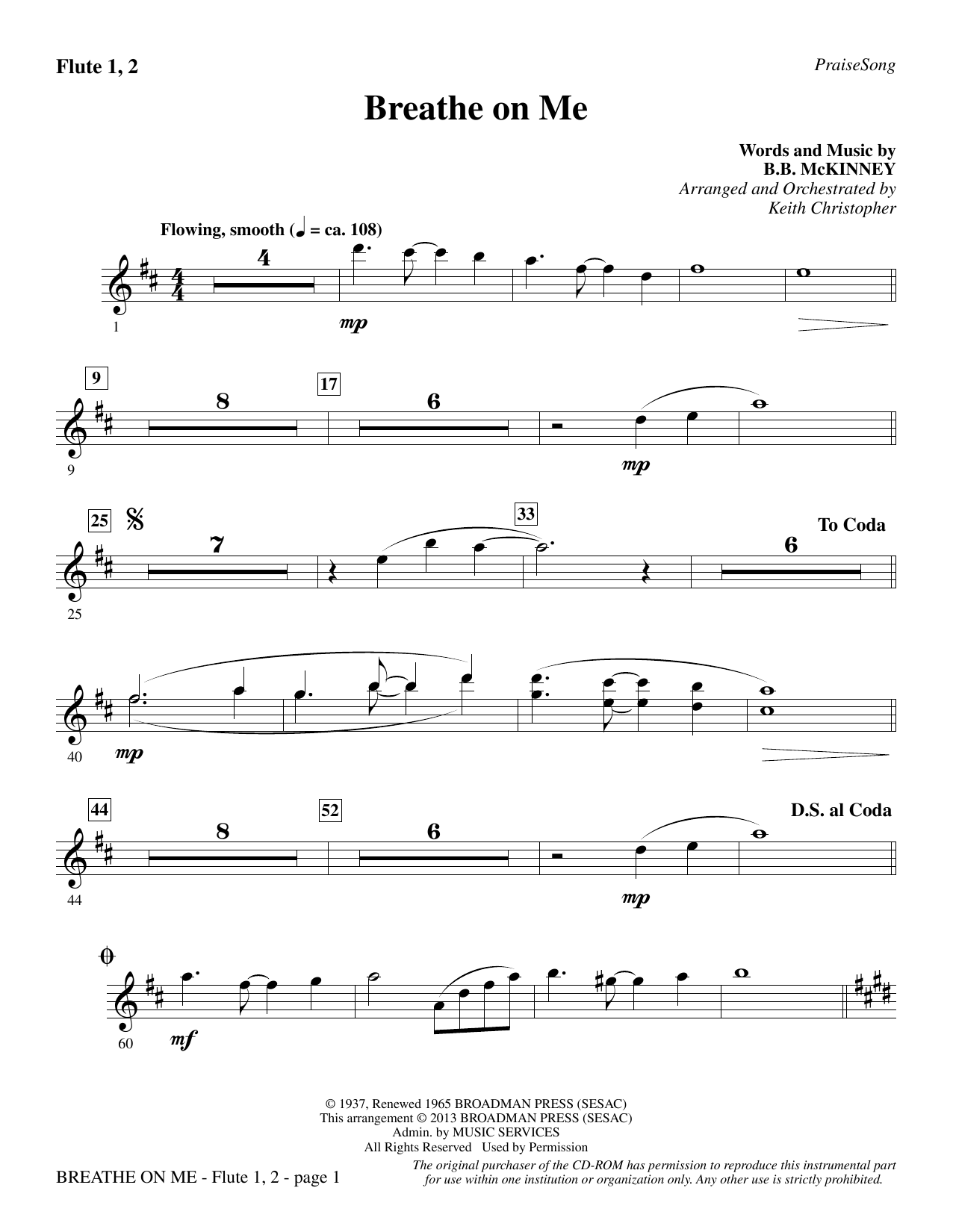 Breathe on Me - Flute 1 & 2 (Choir Instrumental Pak)