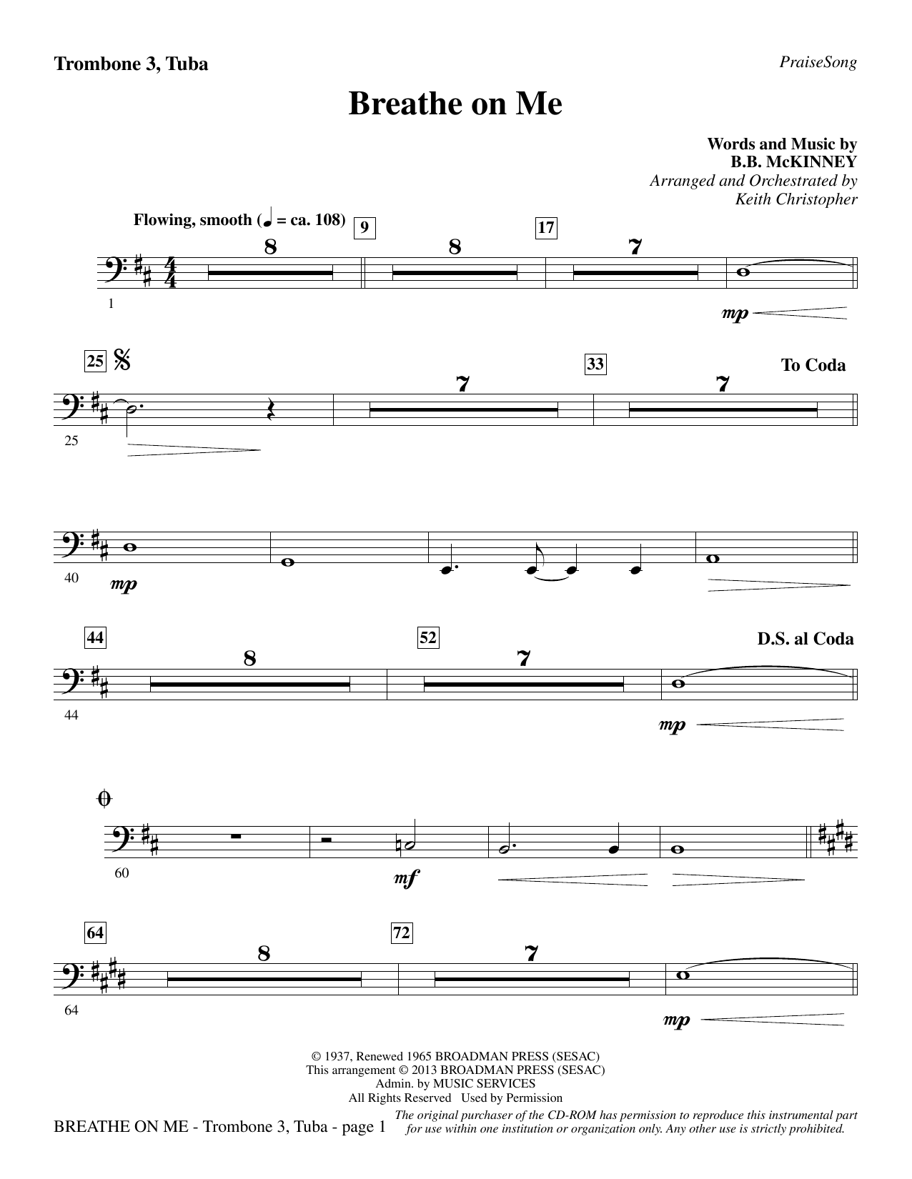 Breathe on Me - Trombone 3/Tuba Sheet Music