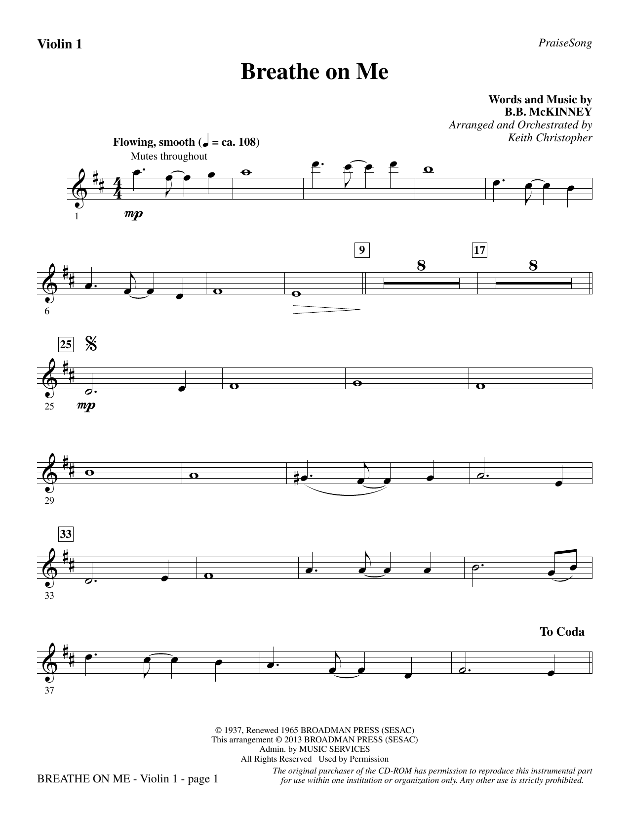 Breathe on Me - Violin 1 Sheet Music