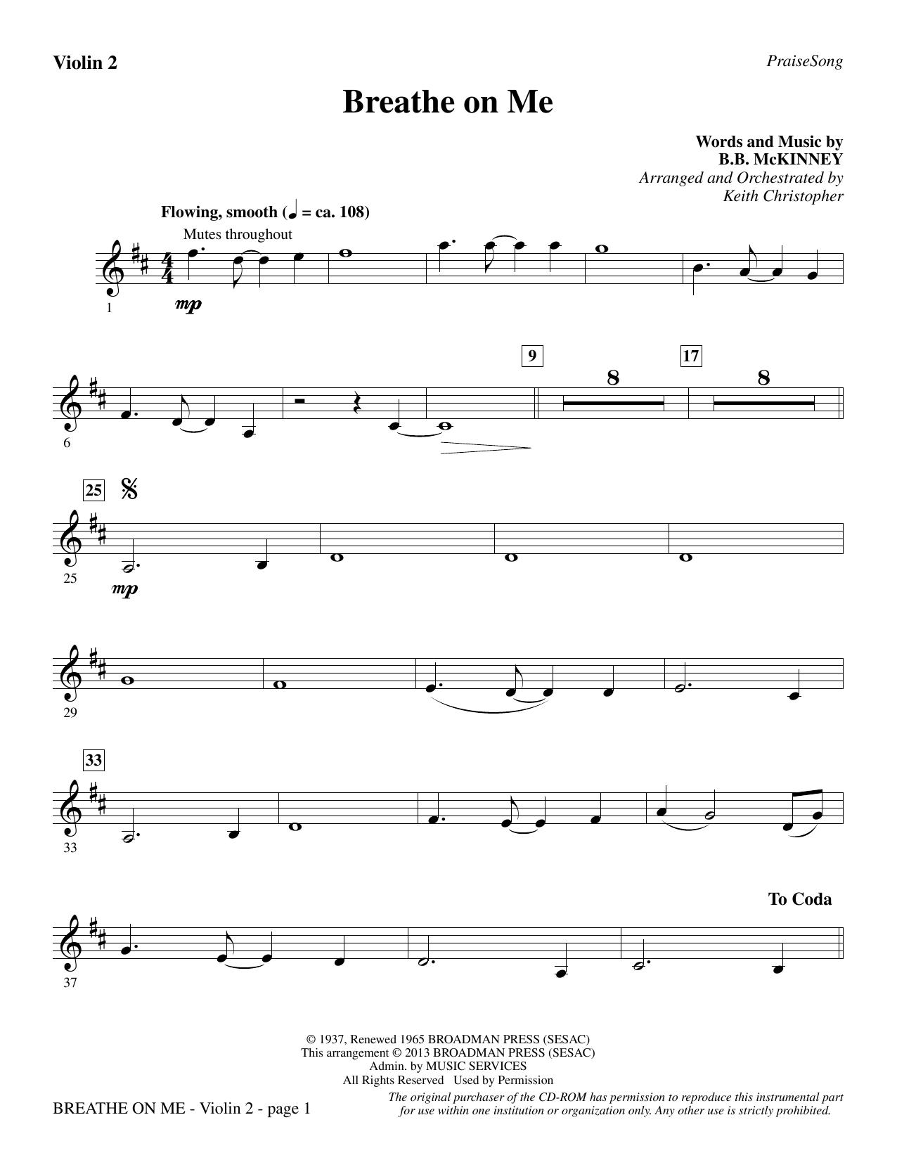 Breathe on Me - Violin 2 (Choir Instrumental Pak)