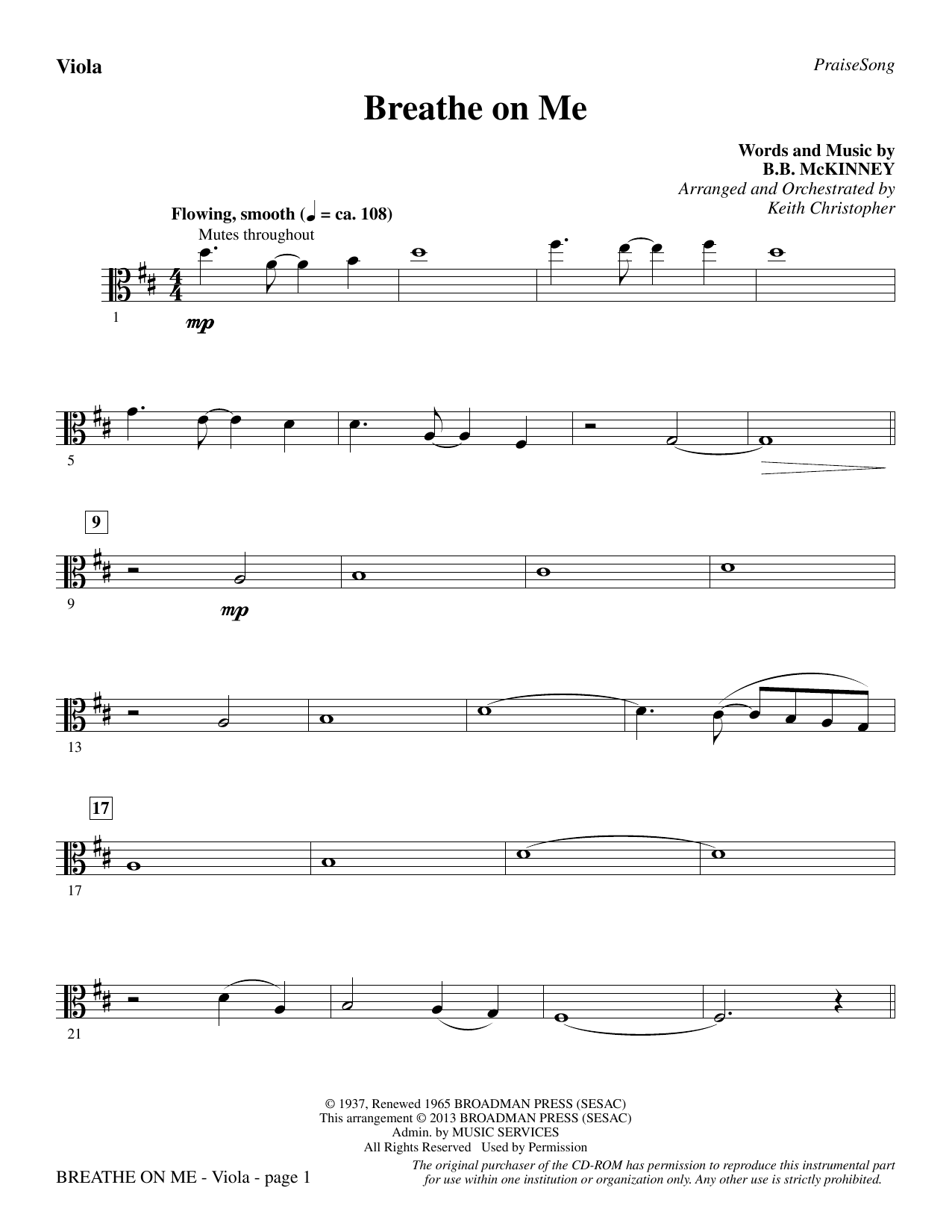 Breathe on Me - Viola (Choir Instrumental Pak)