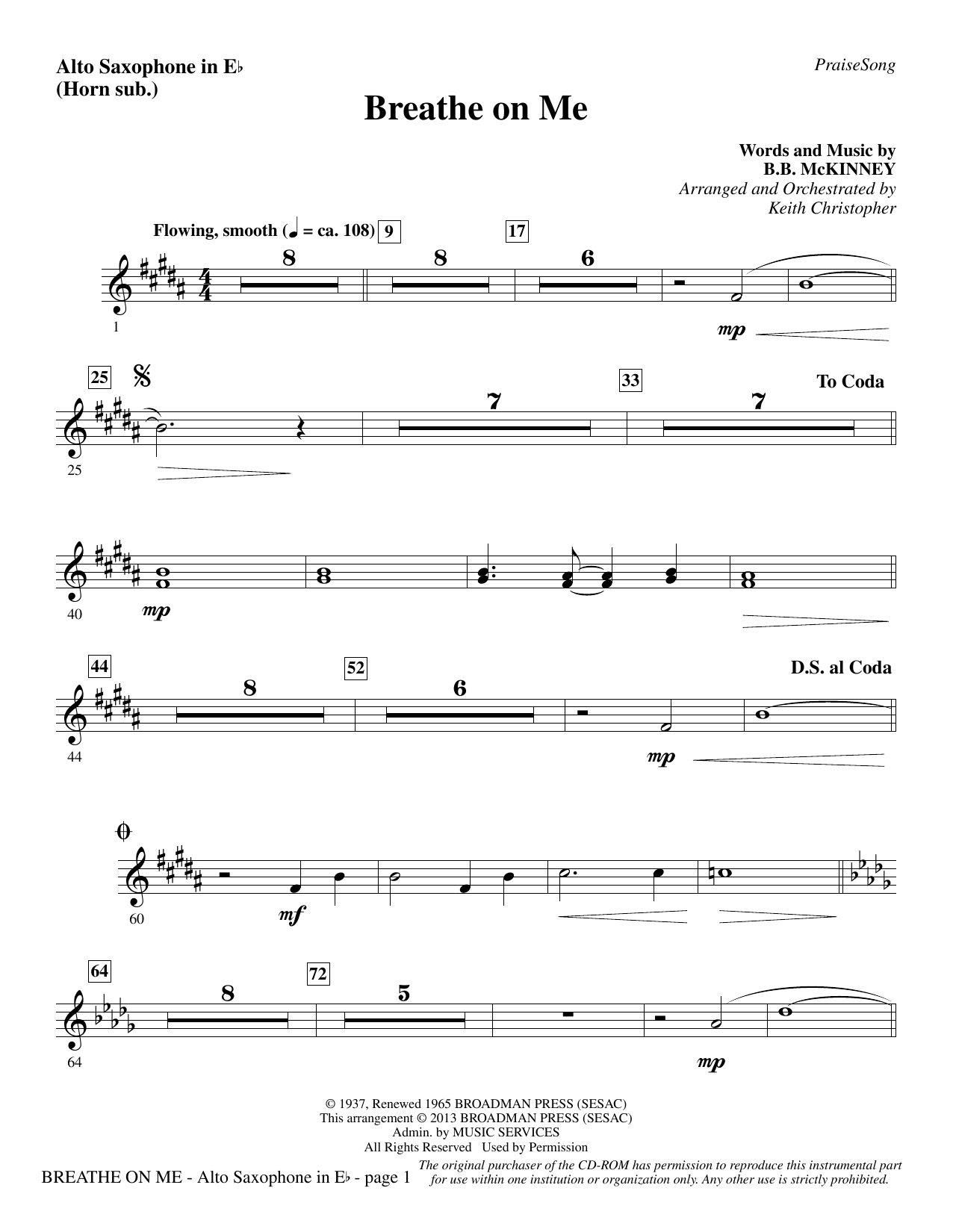 Breathe on Me - Alto Sax (sub. Horn) Sheet Music
