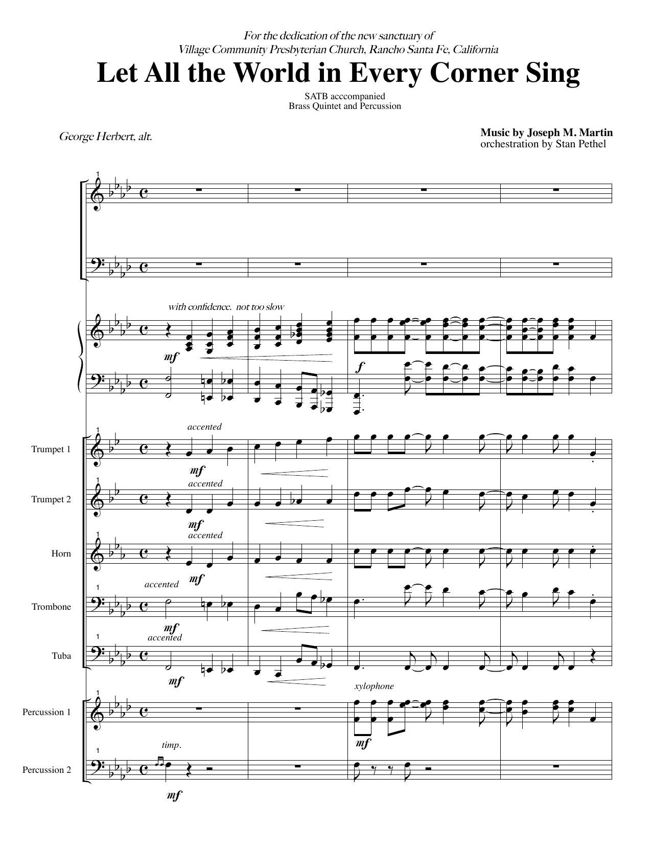 Let All the World in Every Corner Sing - Score (Choir Instrumental Pak)