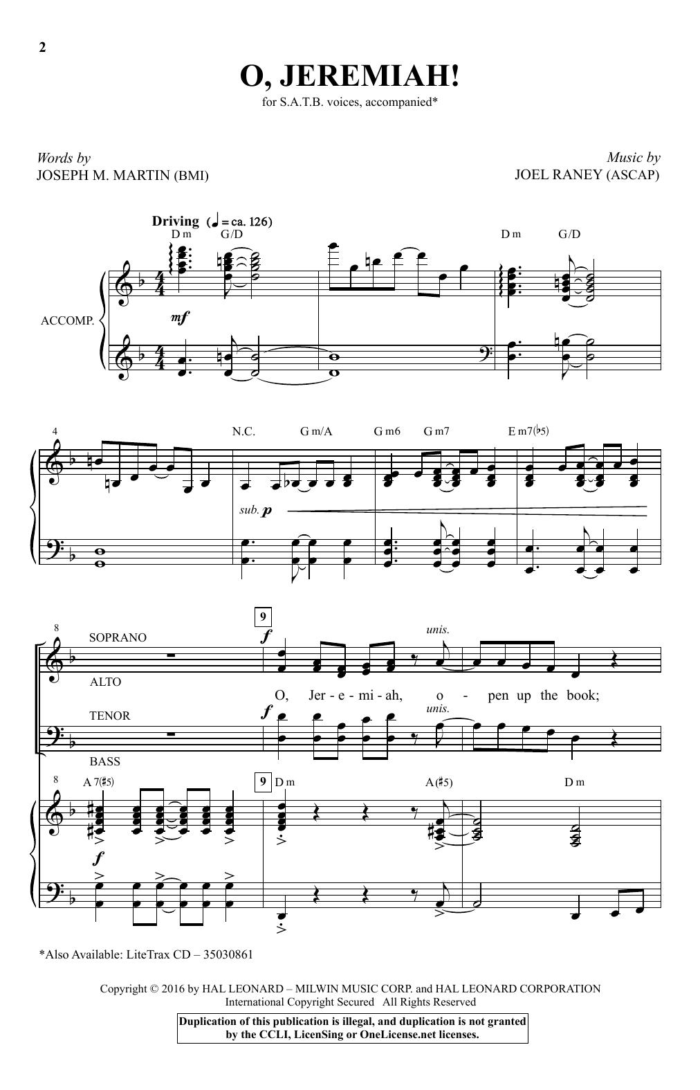 Partition chorale O, Jeremiah! de Joel Raney - SATB