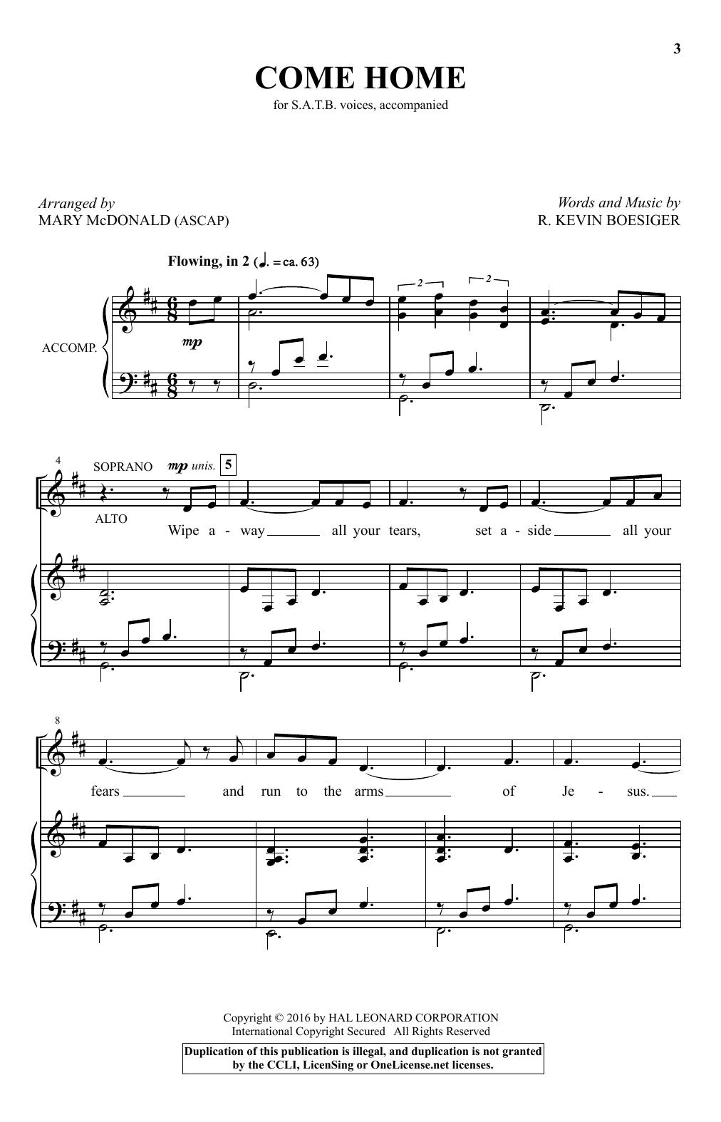 Partition chorale Come Home de Mary McDonald - SATB