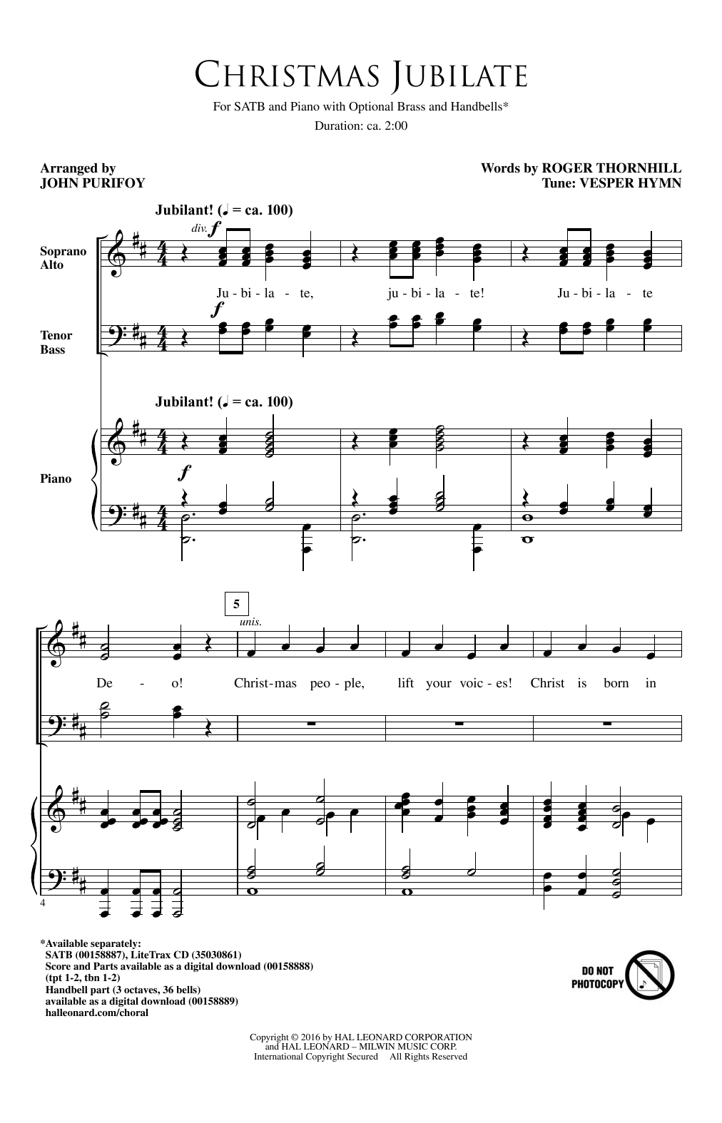 Partition chorale Christmas Jubilate de John Purifoy - SATB