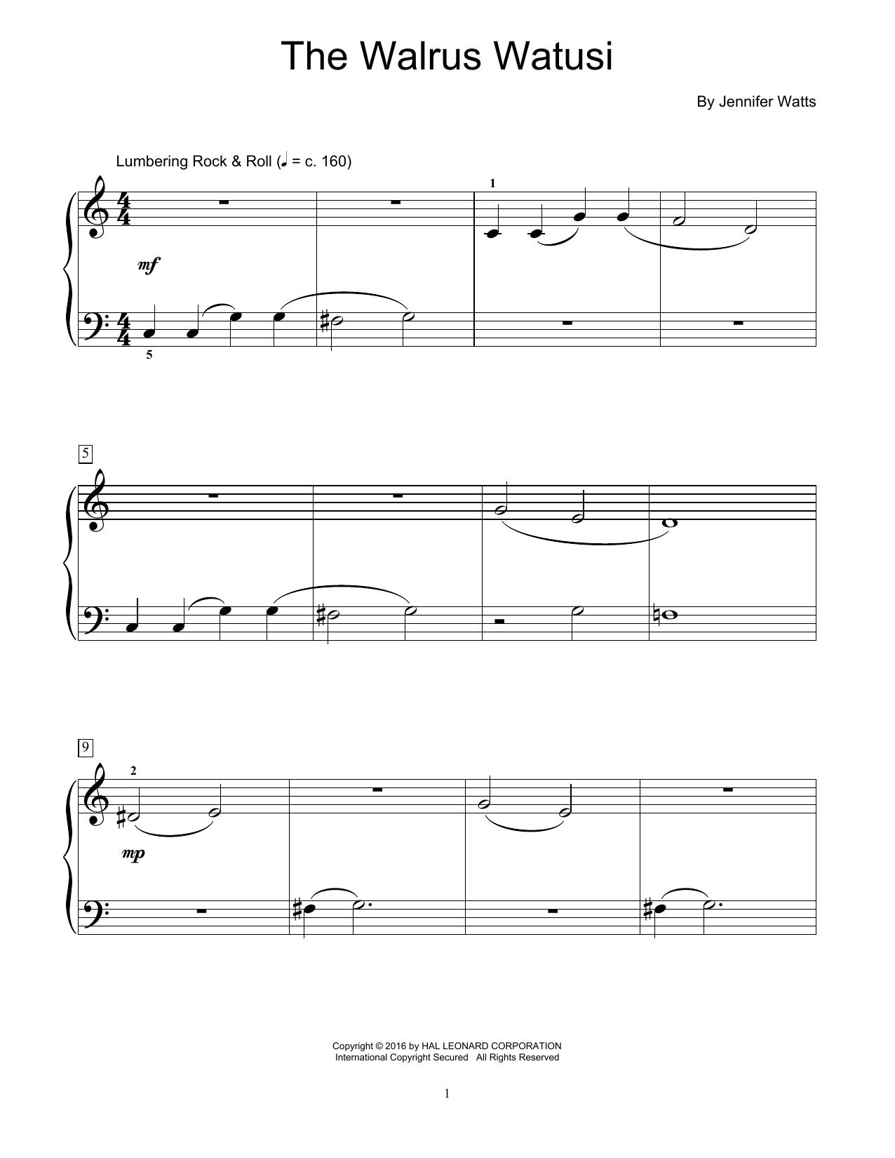 Partition piano The Walrus Watusi de Jennifer Watts - Autre