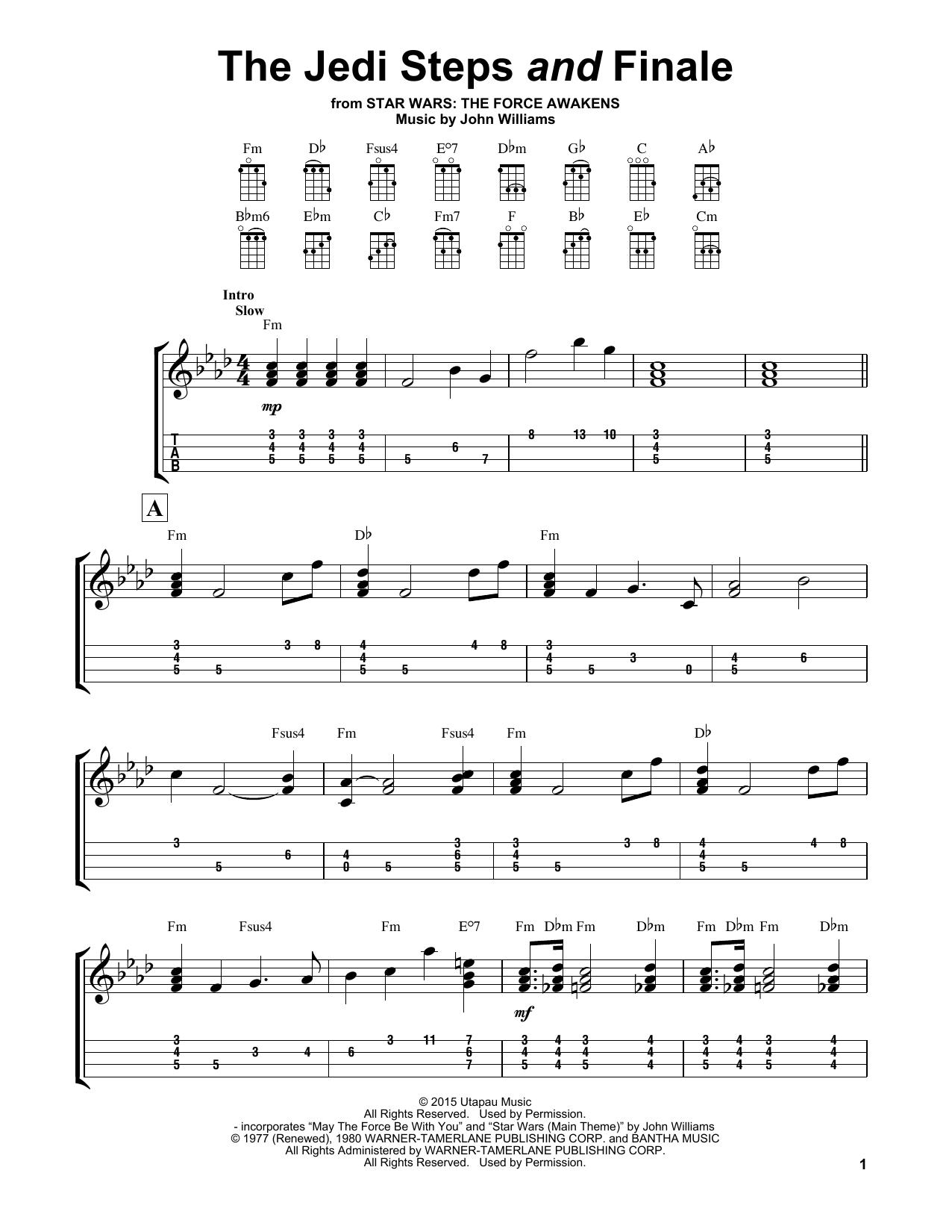 Tablature guitare The Jedi Steps And Finale de John Williams - Ukulele