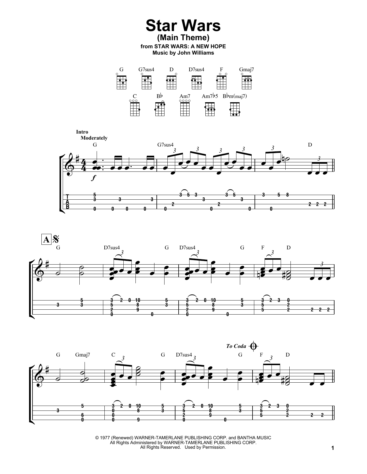 Tablature guitare Star Wars (Main Theme) de John Williams - Ukulele