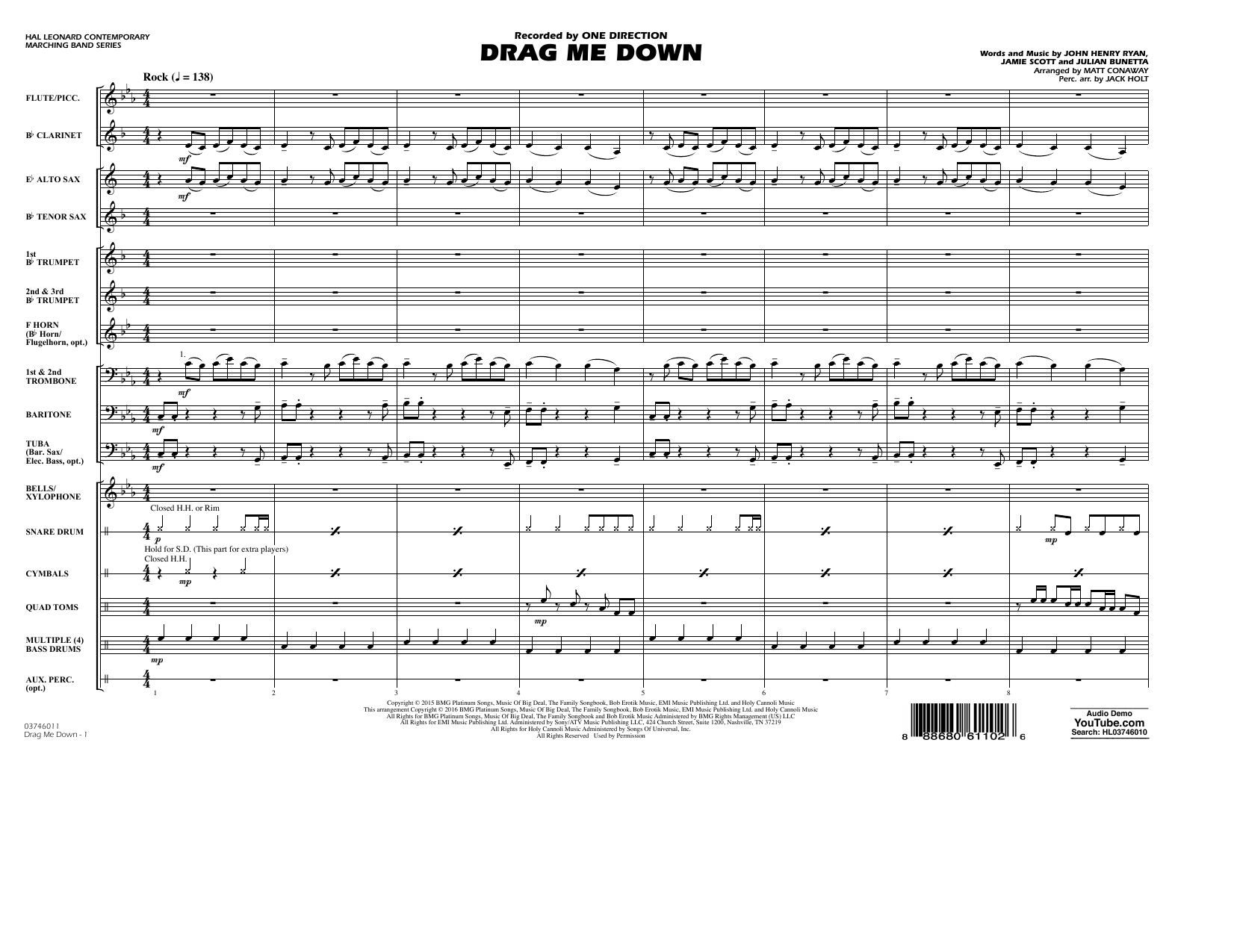 Drag Me Down (COMPLETE) sheet music for marching band by Matt Conaway, Jamie Scott, Julian Bunetta and One Direction. Score Image Preview.
