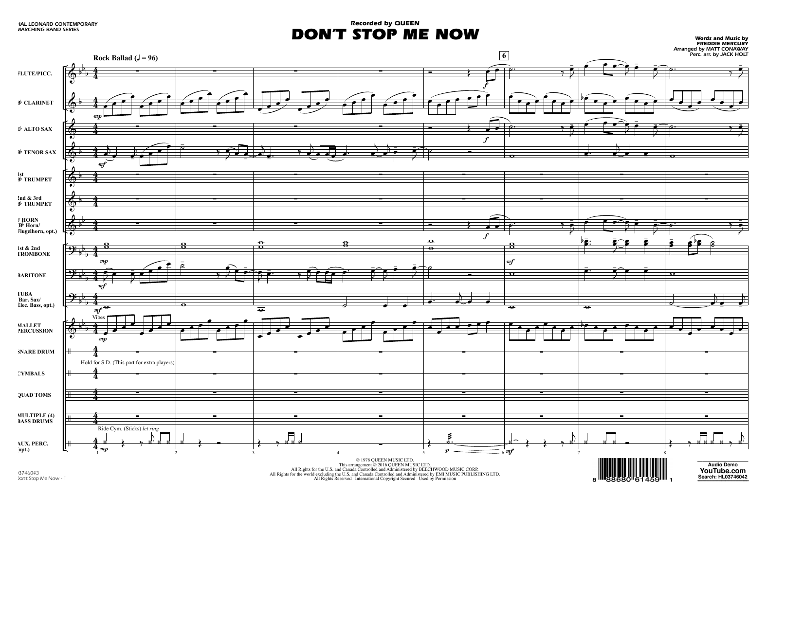 Don't Stop Me Now - Conductor Score (Full Score) (Marching Band)