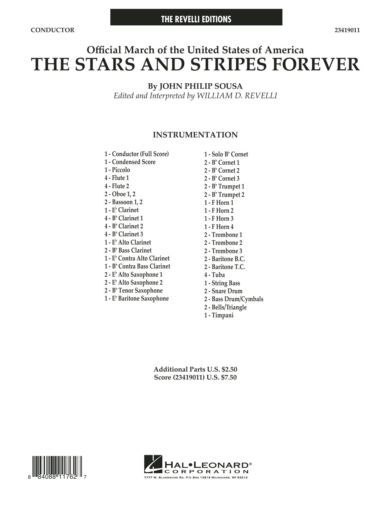 The Stars and Stripes Forever (COMPLETE) sheet music for concert band by John Philip Sousa. Score Image Preview.