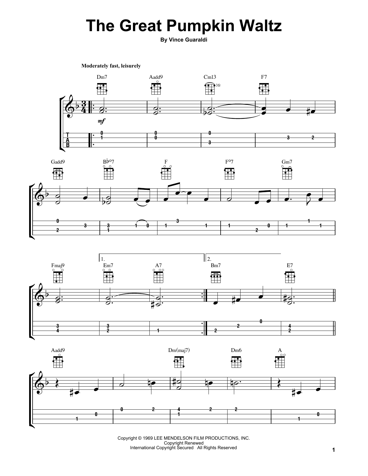 Tablature guitare The Great Pumpkin Waltz de Vince Guaraldi - Ukulele