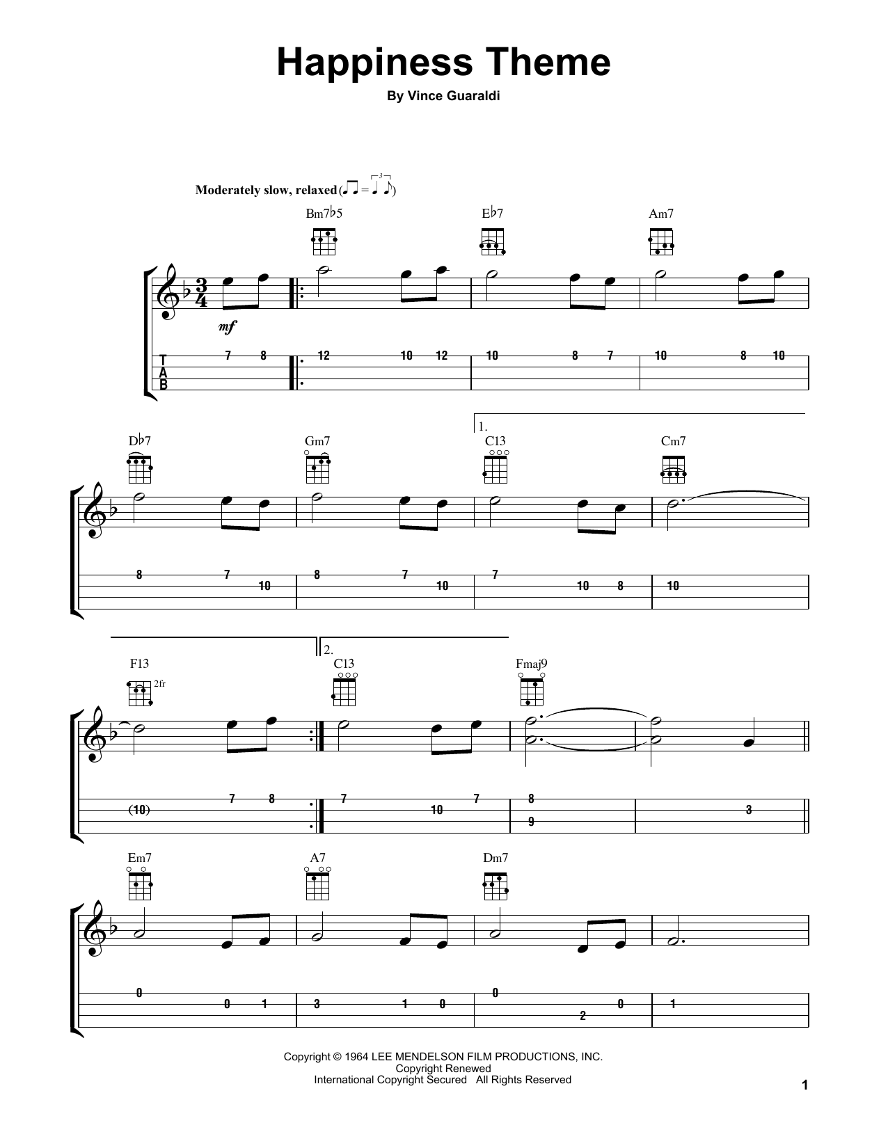 Tablature guitare Happiness Theme de Vince Guaraldi - Ukulele