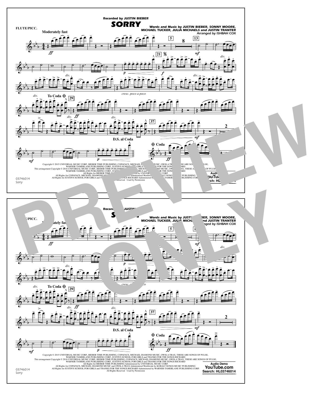 Sorry - Flute/Piccolo (Marching Band)