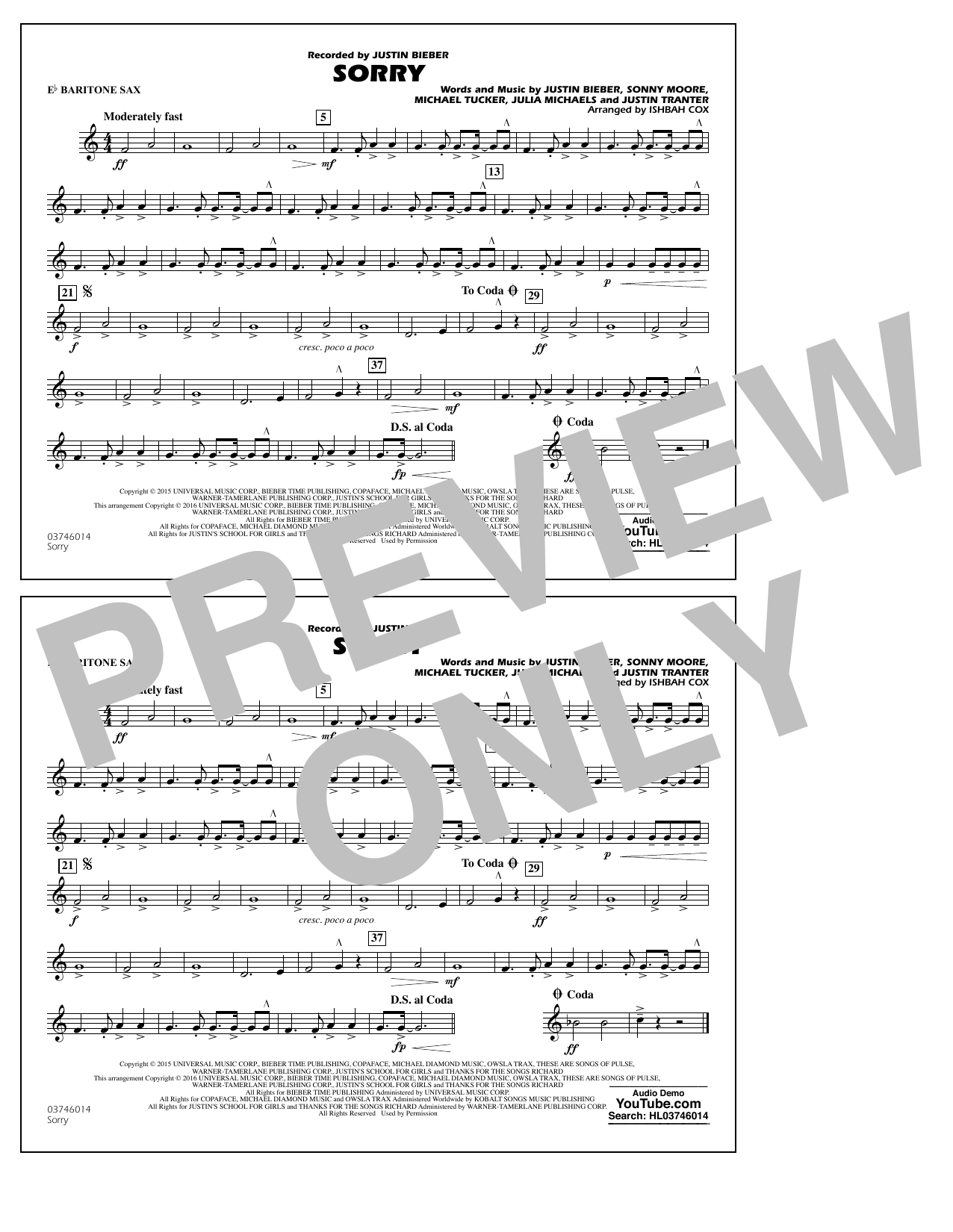 Sorry - Eb Baritone Sax (Marching Band)