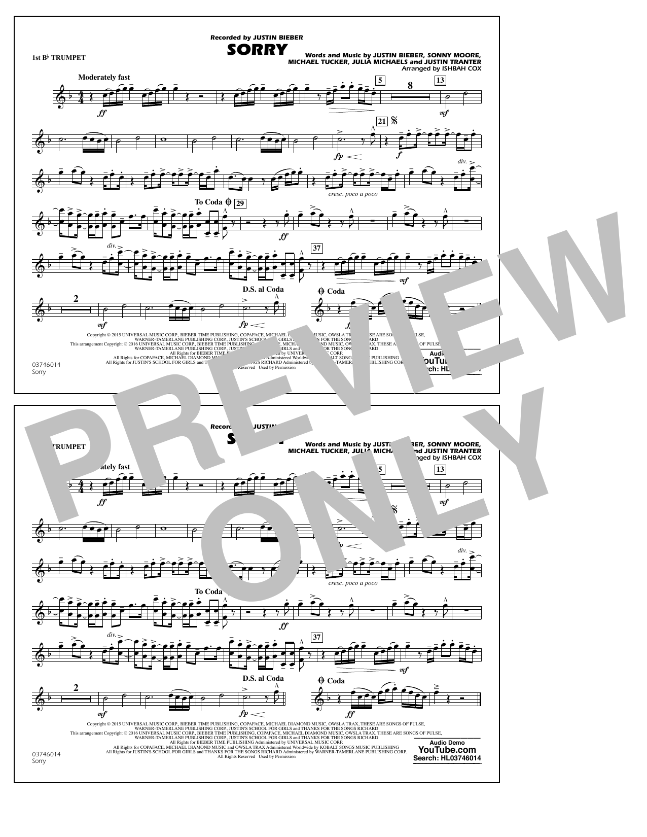 Sorry - 1st Bb Trumpet (Marching Band)