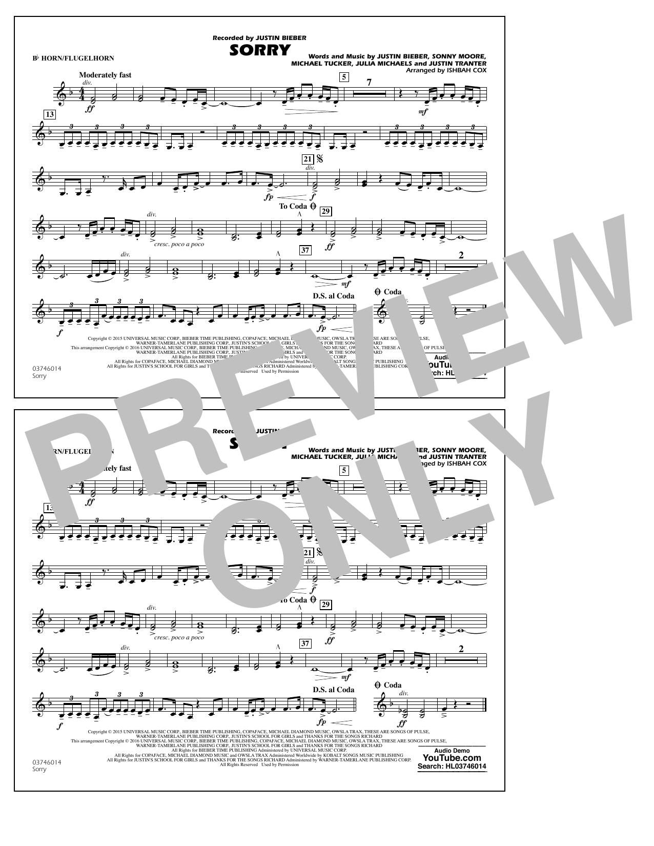 Sorry - Bb Horn/Flugelhorn (Marching Band)
