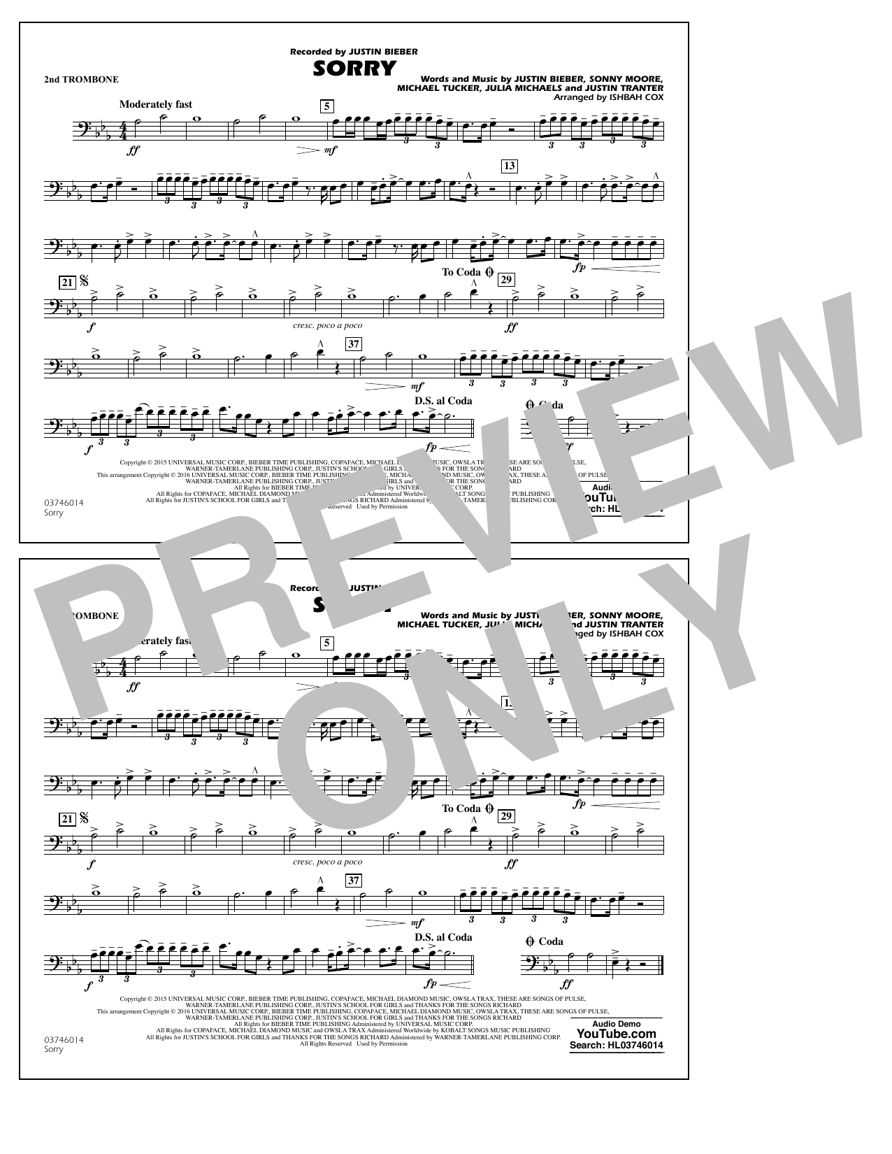 Sorry - 2nd Trombone (Marching Band)