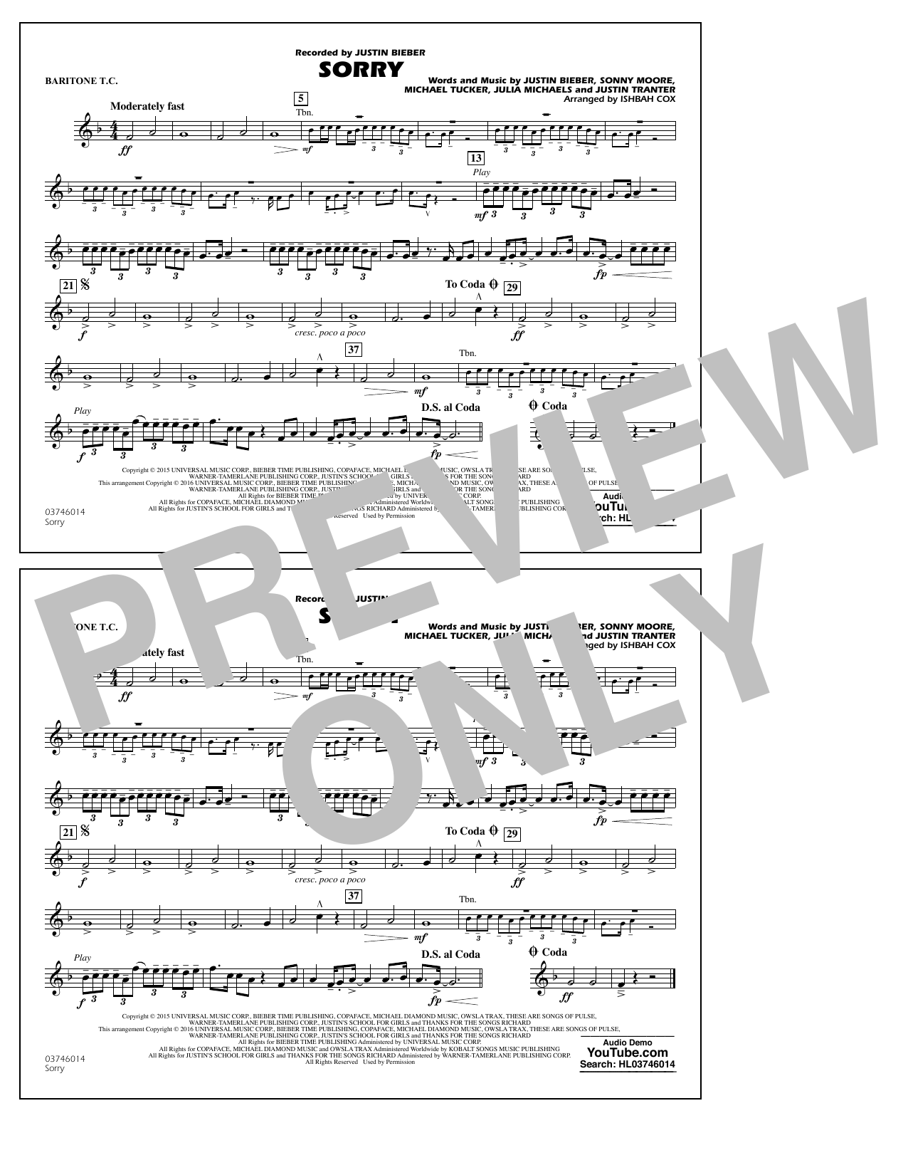Sorry - Baritone T.C. (Marching Band)