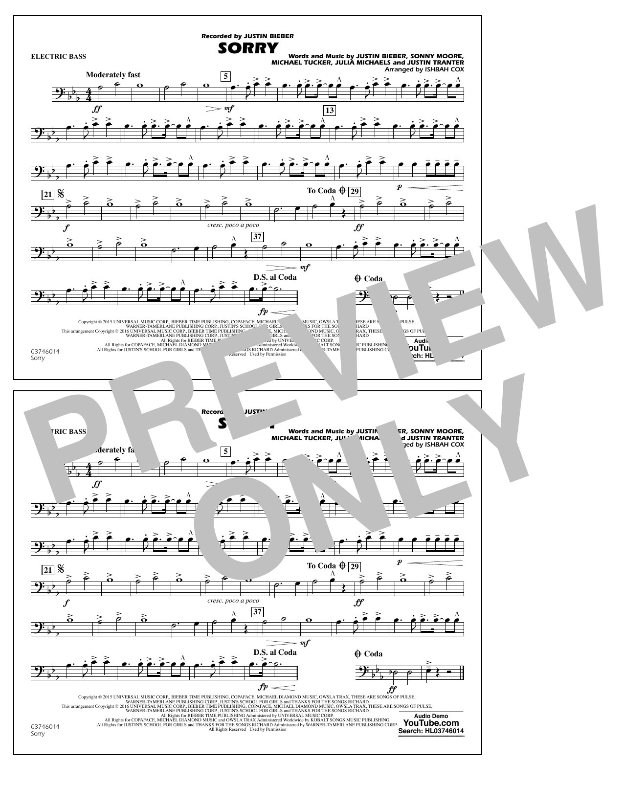 Sorry - Electric Bass (Marching Band)