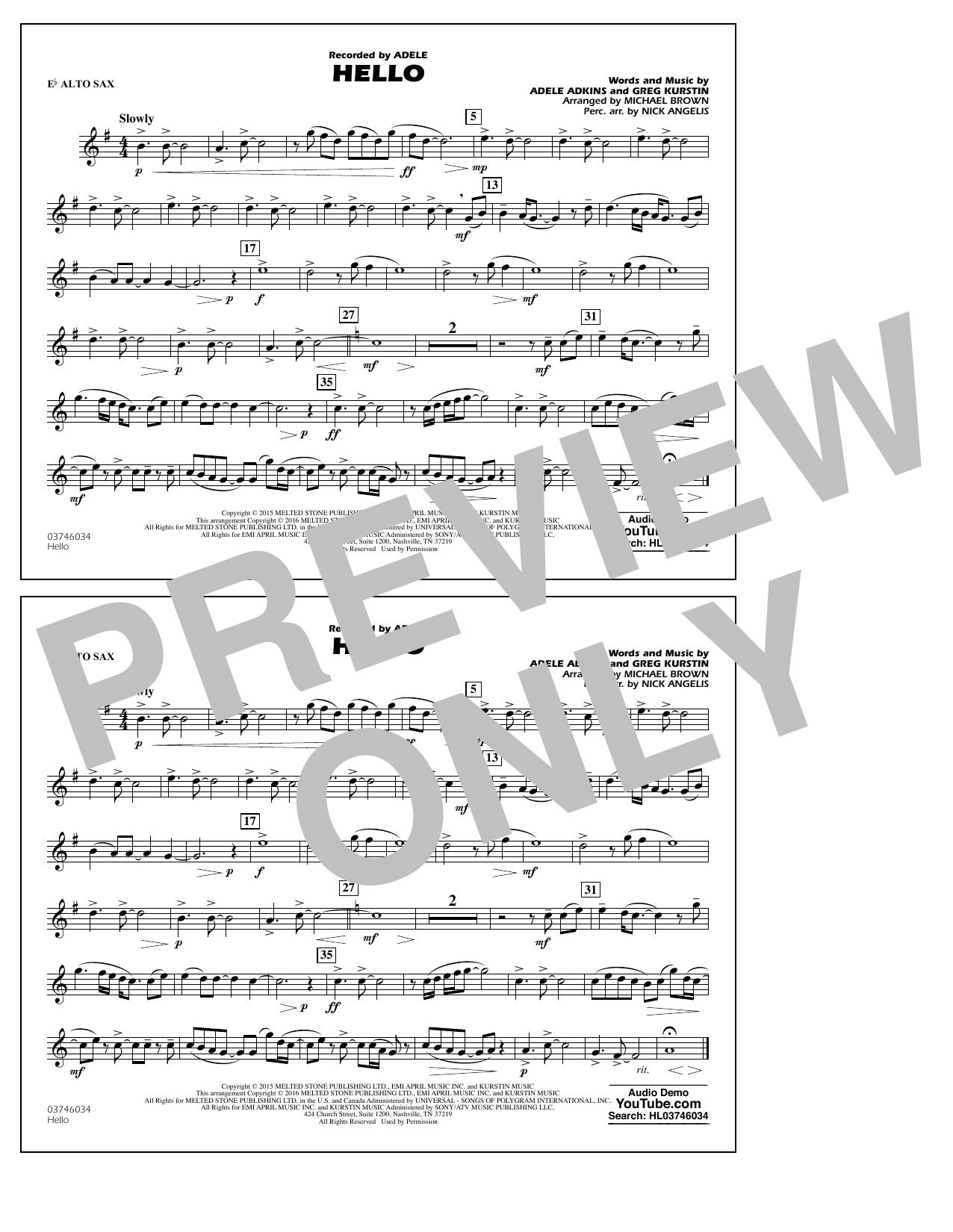 Hello - Eb Alto Sax (Marching Band)