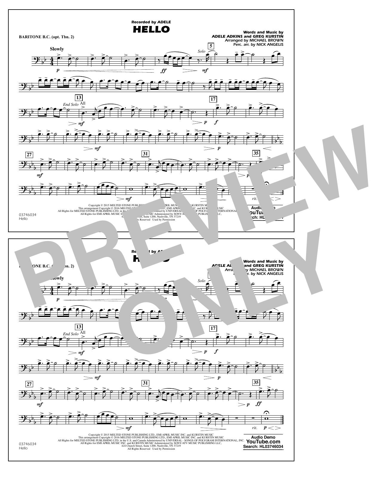 Hello - Baritone B.C. (Opt. Tbn. 2) (Marching Band)