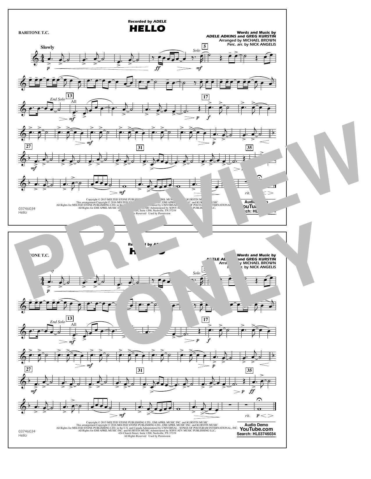 Hello - Baritone T.C. (Marching Band)