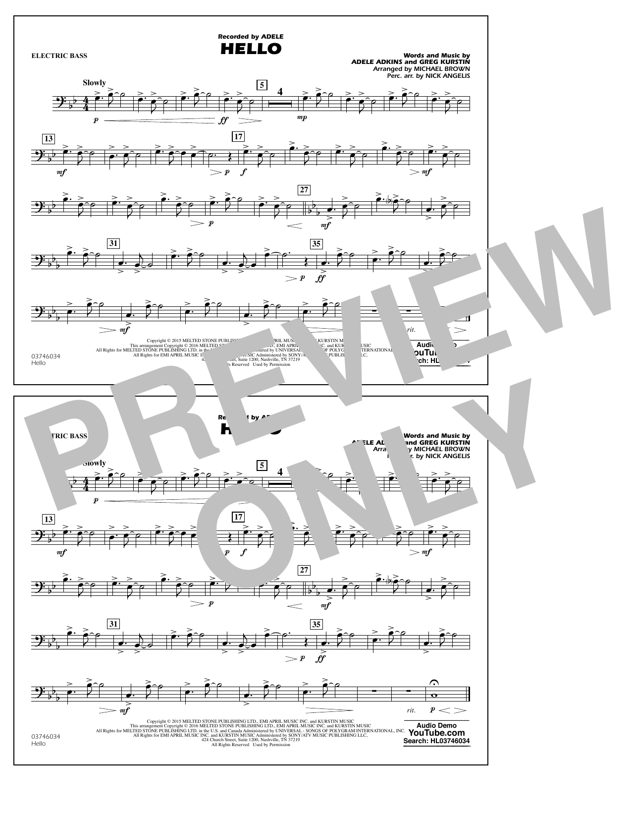 Hello - Electric Bass (Marching Band)