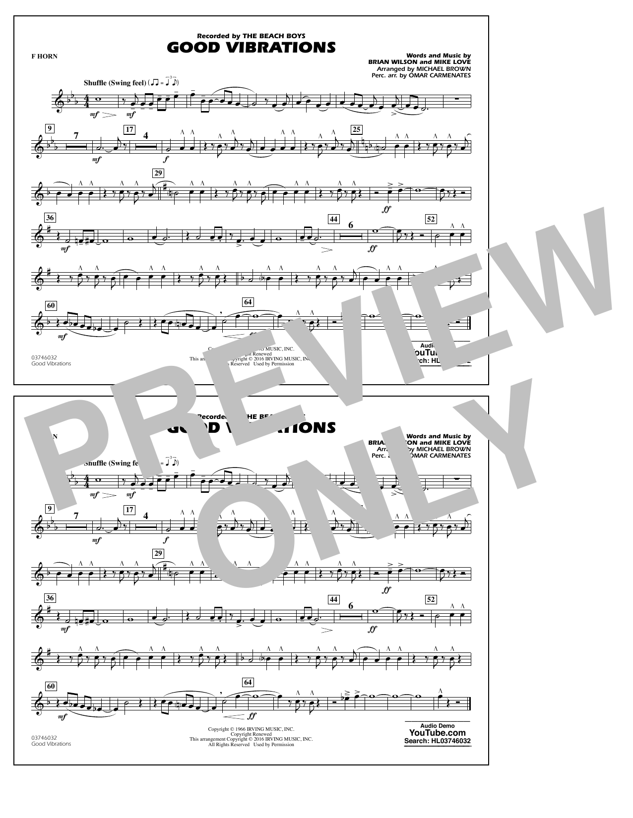 Good Vibrations - F Horn (Marching Band)