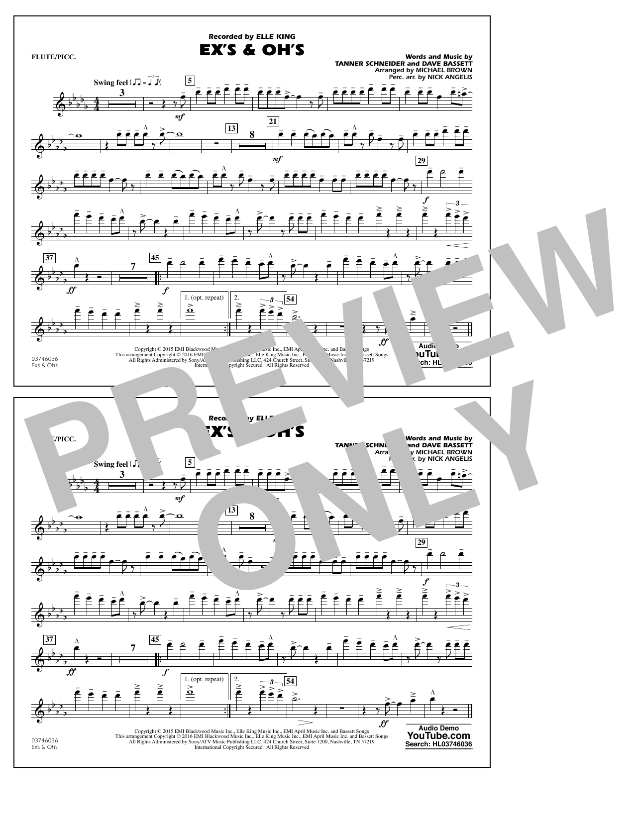 Ex's & Oh's - Flute/Piccolo (Marching Band)