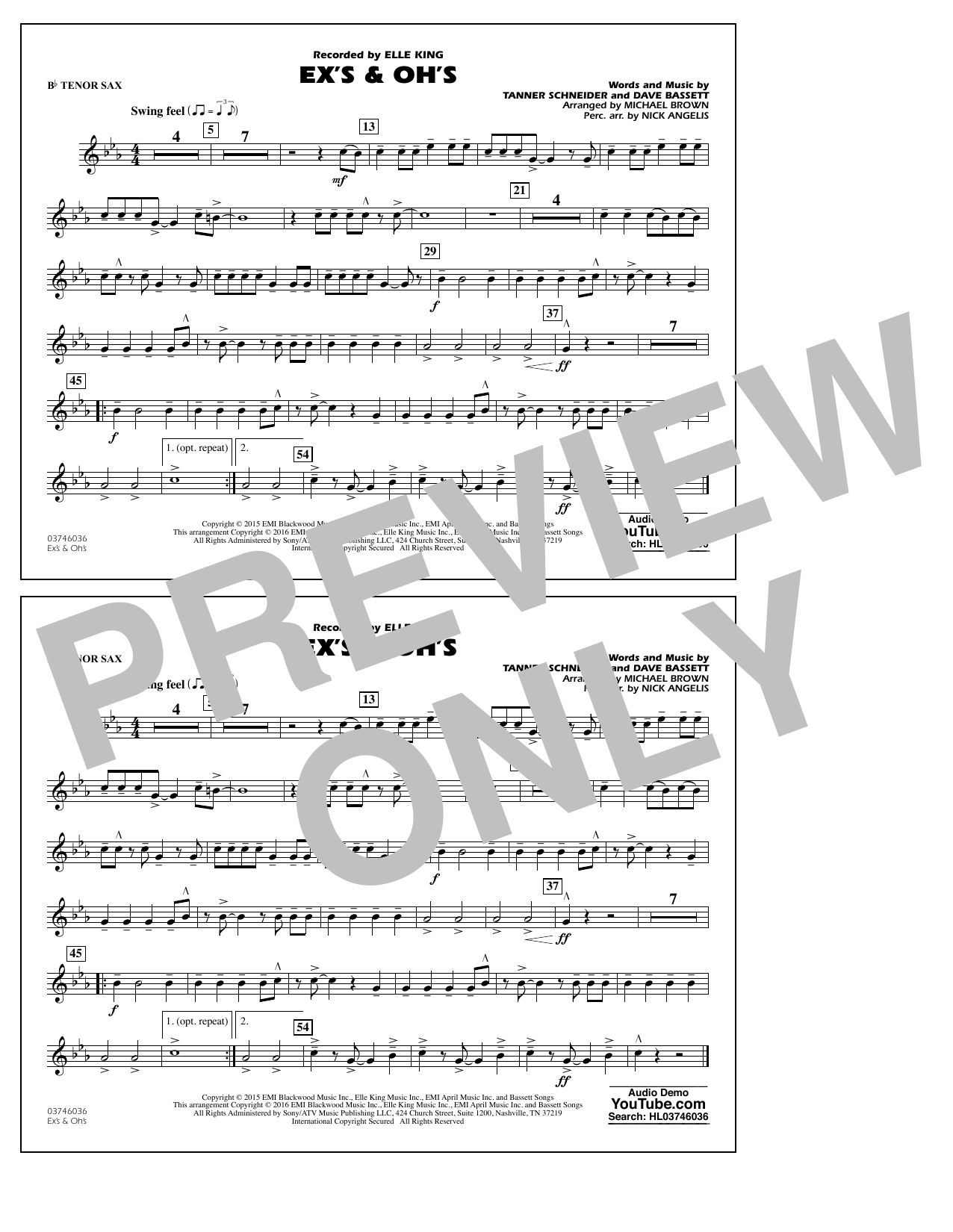 Ex's & Oh's - Bb Tenor Sax (Marching Band)