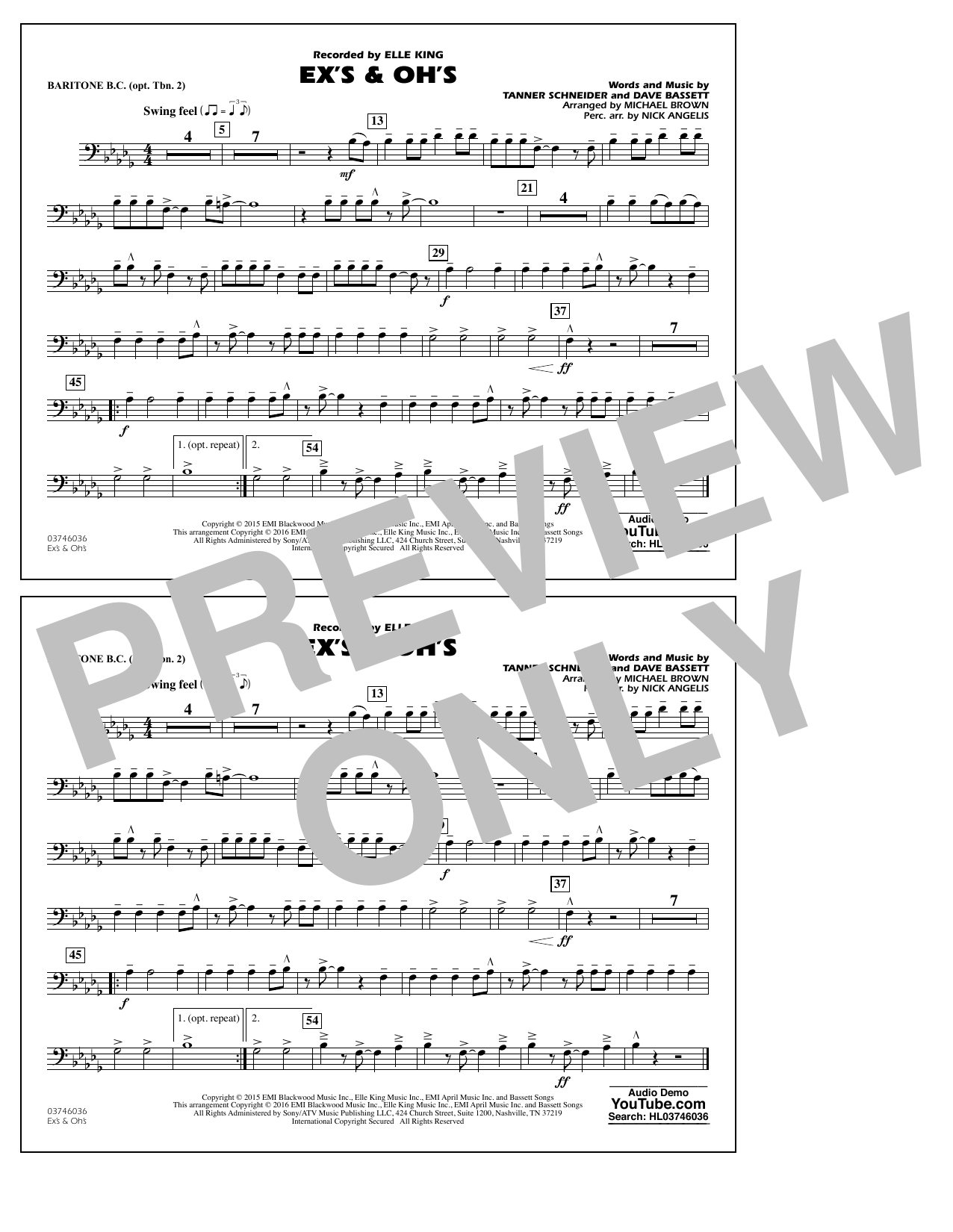 Ex's & Oh's - Baritone B.C. (Opt. Tbn. 2) (Marching Band)
