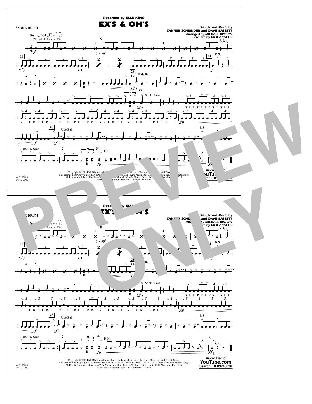 Ex's & Oh's - Snare Drum (Marching Band)