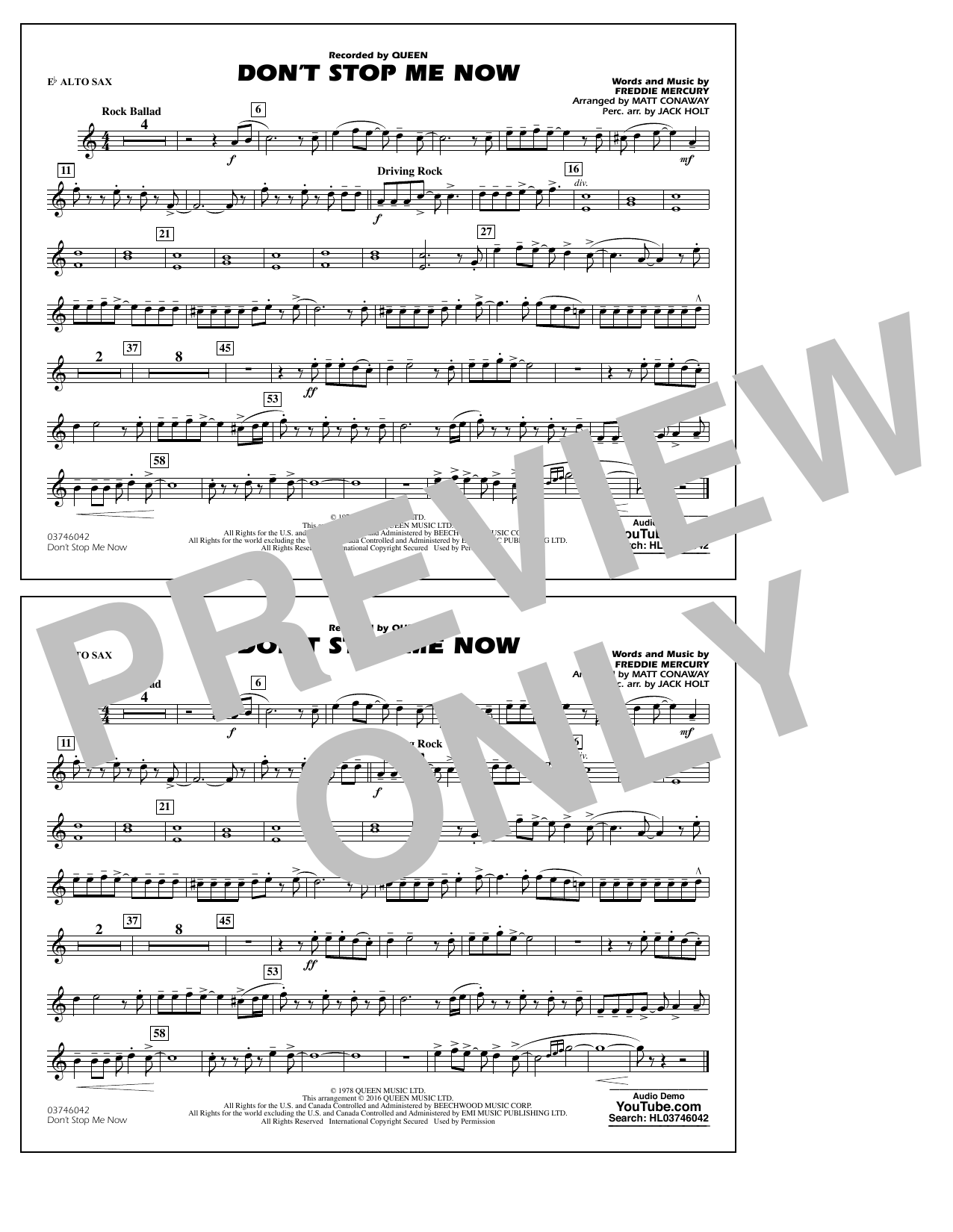 Don't Stop Me Now - Eb Alto Sax (Marching Band)