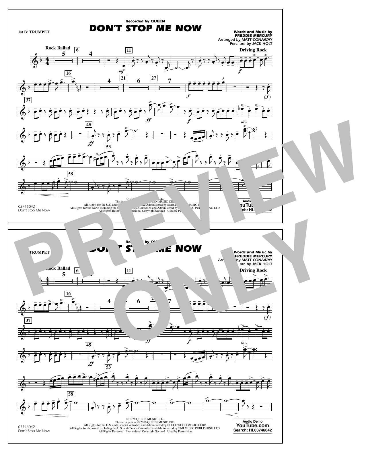 Don't Stop Me Now - 1st Bb Trumpet (Marching Band)