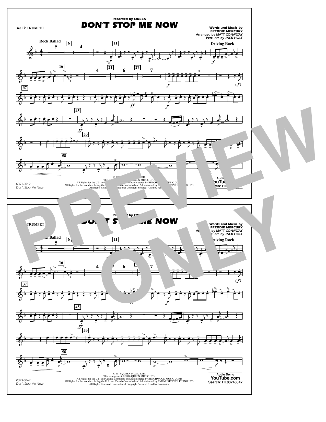 Don't Stop Me Now - 3rd Bb Trumpet (Marching Band)