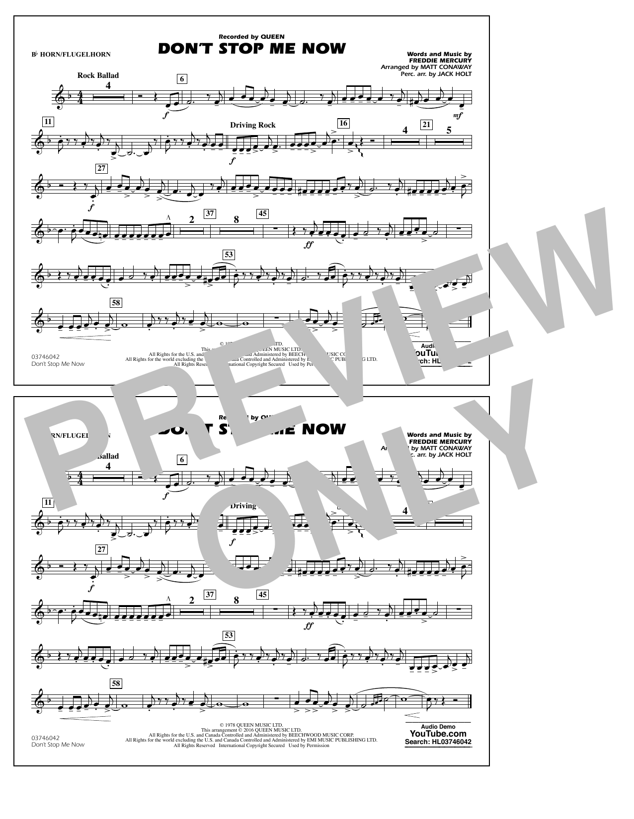 Don't Stop Me Now - Bb Horn/Flugelhorn (Marching Band)