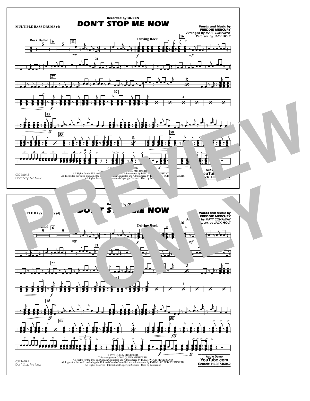 Dont Stop Me Now Multiple Bass Drums By Matt Conaway Marching Band Digital Sheet Music