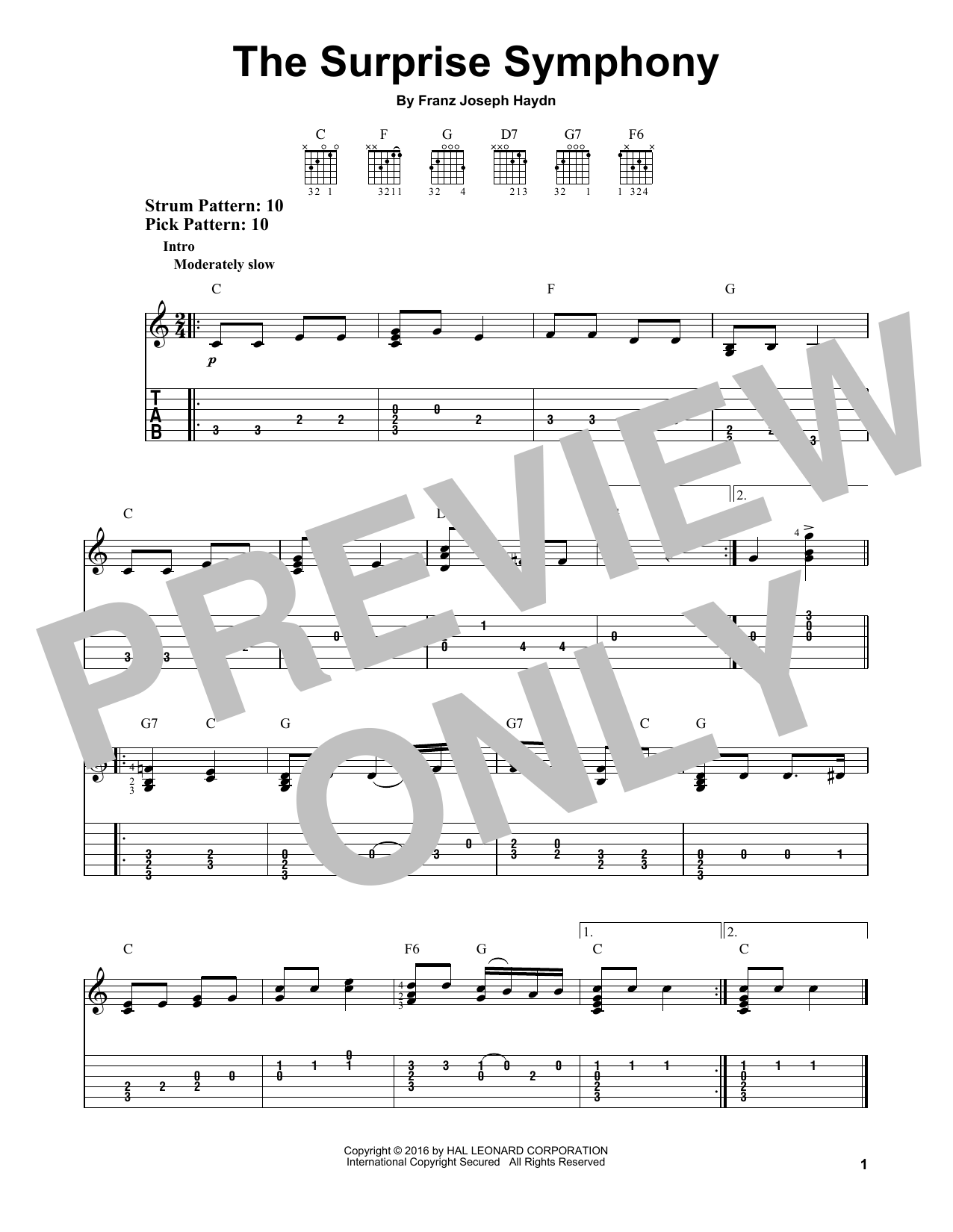 The Surprise Symphony (Easy Guitar Tab)