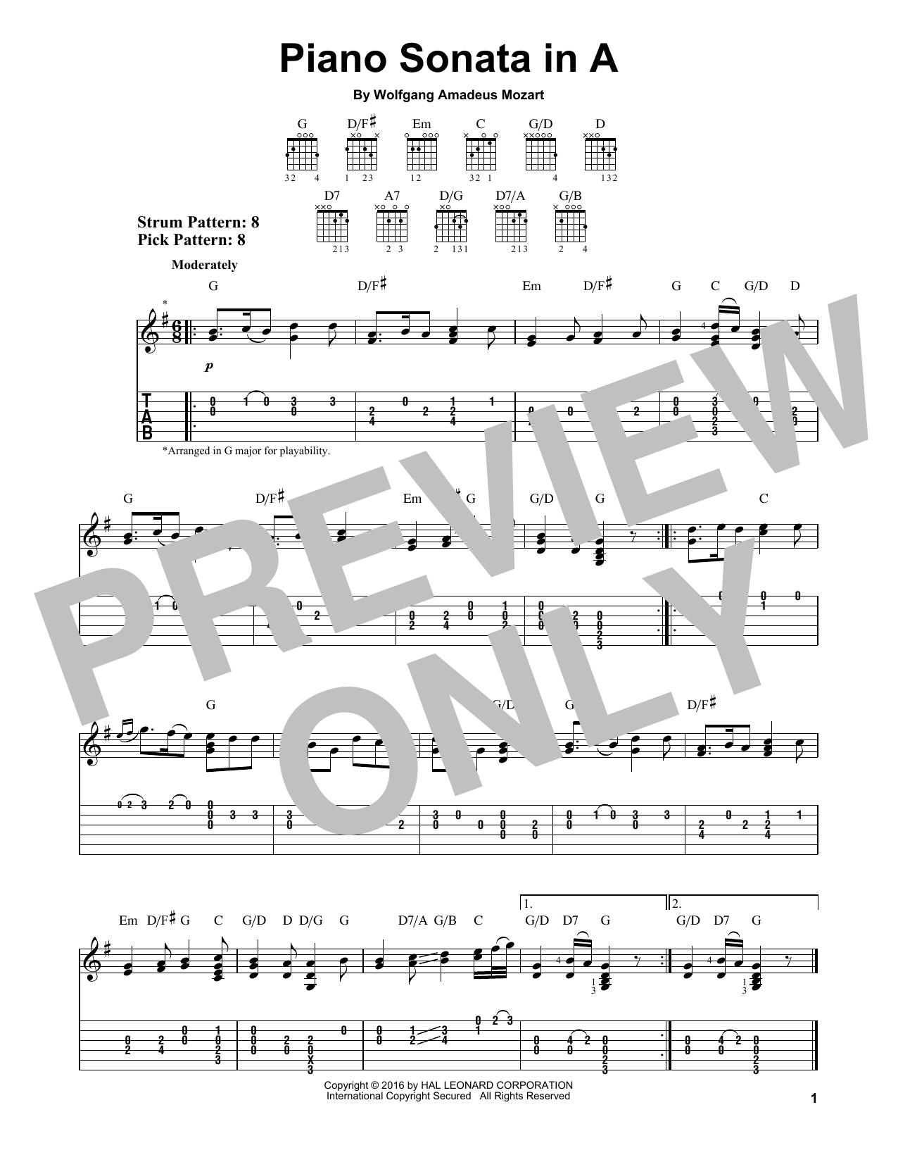 Tablature guitare Piano Sonata In A de Wolfgang Amadeus Mozart - Tablature guitare facile