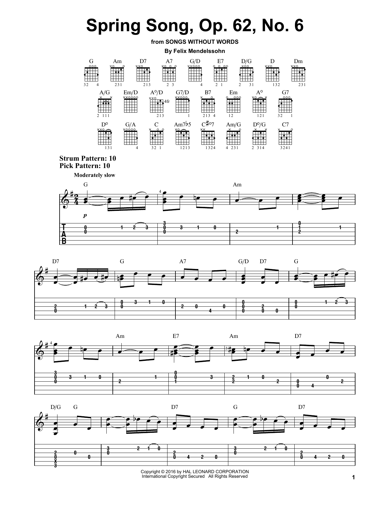 Tablature guitare Spring Song, Op. 62, No. 6 de Felix Mendelssohn - Tablature guitare facile